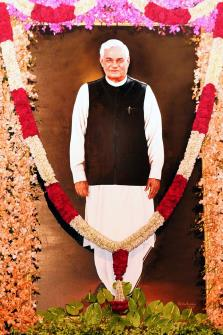 Portrait of the former Prime Minister Atal Bihari Vajpayee at the Central Hall of Parliament in New Delhi on Tuesday. (ANI)