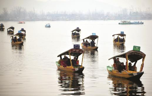 Foreign envoys of the second batch take Shikara rides during their visit, at Dal Lake in Srinagar on Wednesday. ANI Photo