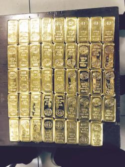 44 gold bars of 500 gm  each seized from a  passenger at Mumbai  airport. Value of the gold was Rs 6,74,48,260 and the passenger had landed from Dubai on Wednesday. (ANI)