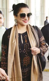 Bollywood actress Vidya Balan arrives at Jaipur airport on Thursday. (ANI Photo)