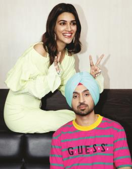 Bollywood actress Kriti Sanon and actor Diljit Dosanjh during the media interaction of their upcoming film 'Arjun Patiala' in Mumbai on Thursday. (ANI Photo)