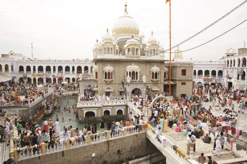 A general view of Panja Sahib shrine during the Vaisakhi festival in Hasanabdal, Pakistan on Monday. REUTERS Photo