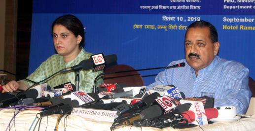 Minister of State for PMO Jitendra Singh addressing a press conference on the completion of 100 days of Modi Government, in Jammu on Tuesday.