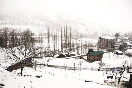 A view of snow covered houses during fresh snowfall on the outskirts of Srinagar on Saturday.  ANI