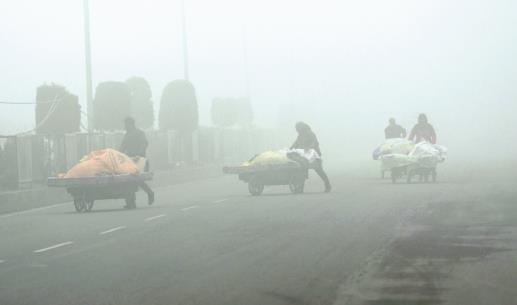 Vendors push handcarts amid heavy fog in Srinagar on Sunday. (ANI photo)