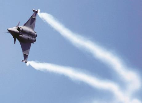 A Rafale fighter aircraft during rehearsal ahead of 12th edition of AERO India 2019 at Yelhanka Airbase, in Bengaluru on Monday. (ANI Photo)