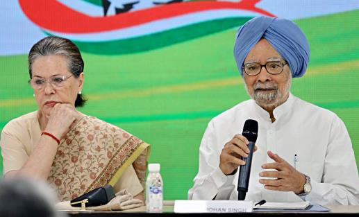 Congress President Sonia Gandhi and former Prime Minister Manmohan Singh during a meeting of Party General Secretaries, at AICC headquarters in New Delhi.