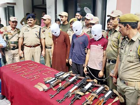 Three suspected militants arrested with six AK-47 rifles on the Jammu-Pathankot Highway in Lakhanpur on Thursday.