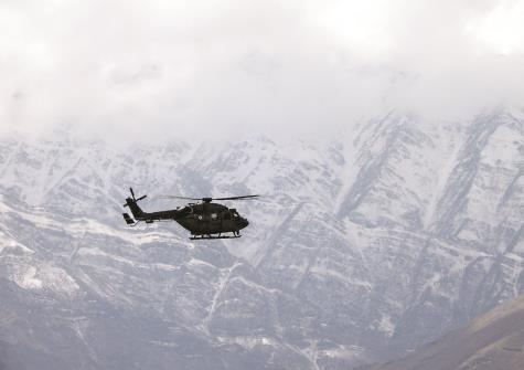 AL Dhruva Chopper of IAF seen flying in Leh on Sunday. ANI Photo