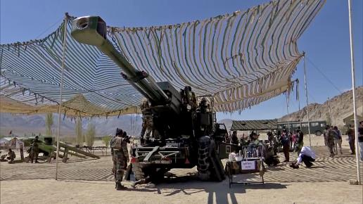 Bofors gun being displayed during the practice of rescue and other operations carried out by Army Engineers, in Leh on Tuesday.