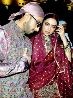 Bollywood actress Deepika Padukone with her husband and actor Ranveer Singh visit Golden Temple to celebrate their first wedding anniversary in Amritsar on Friday. (ANI)