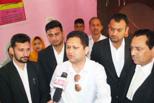 Mr Aseem Sawhney Advocate with Mr A K Sawhney, Shiv Dev Singh Thakur, Anil Sharma and Himanshu briefing media persons.