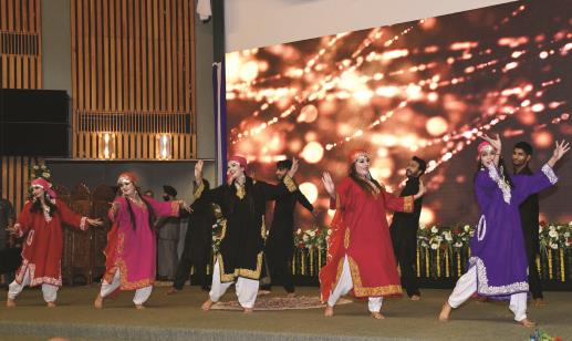 Artists performing during a function in Srinagar on Saturday. (Shiekh Faizan)