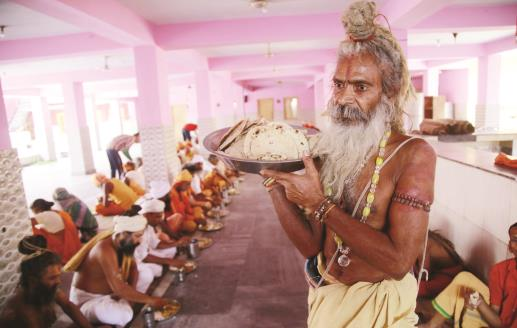 Sadhus arrive at Ram Mandir for upcoming Amarnath Yatra in Jammu on Saturday. (Baru)