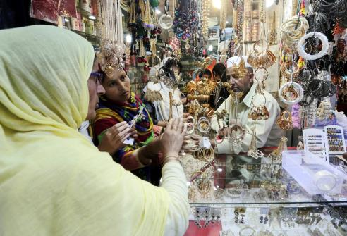Women shopping ahead of Eid festival in Srinagar.