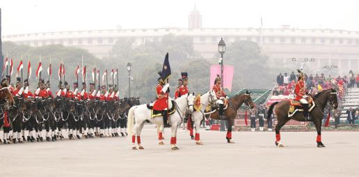 President Ram Nath Kovind's mounted bodyguards during a full dress rehearsal for the Beating Retreat ceremony at Vijay Chowk, in New Delhi on Monday. ANI Photo
