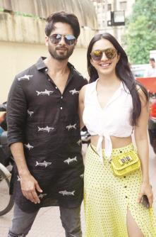Bollywood actors Shahid Kapoor and Kiara Advani pose during the promotion of their film Kabir Singh at PVR  theater in Mumbai. (ANI Photo)