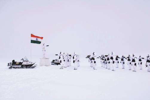 Indian Army observes Constitution Day at Siachen by reading the Preamble to the Constitution in Ladakh on Thursday. ANI Photo