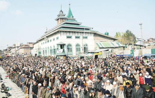 Kashmiri Muslims offer Friday Prayer, in Srinagar on Friday. ANI Photo